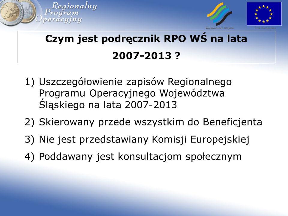 Struktura Podręcznika RPO WŚ na lata 2007-2013 CZĘŚĆ ICZĘŚĆ II opis systemu wdrażania opis obszarów tematycznych załączniki