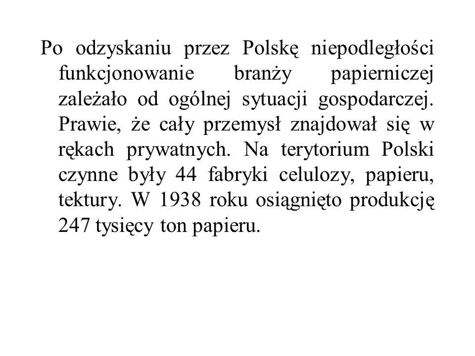 Po odzyskaniu przez Polskę niepodległości funkcjonowanie branży papierniczej zależało od ogólnej sytuacji gospodarczej. Prawie, że cały przemysł znajd
