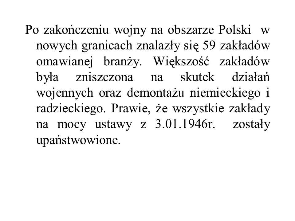 Po zakończeniu wojny na obszarze Polski w nowych granicach znalazły się 59 zakładów omawianej branży. Większość zakładów była zniszczona na skutek dzi
