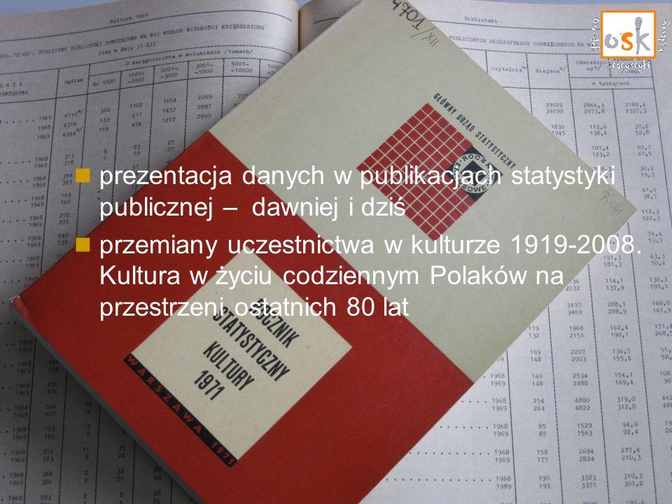 prezentacja danych w publikacjach statystyki publicznej – dawniej i dziś przemiany uczestnictwa w kulturze 1919-2008. Kultura w życiu codziennym Polak
