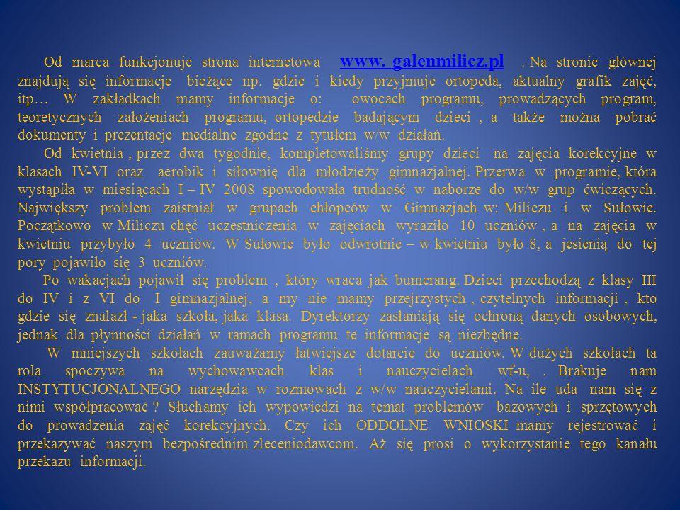 Od marca funkcjonuje strona internetowa www. galenmilicz.pl. Na stronie głównej znajdują się informacje bieżące np. gdzie i kiedy przyjmuje ortopeda,