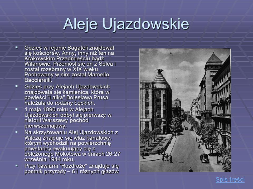 Aleje Ujazdowskie Gdzieś w rejonie Bagateli znajdował się kościół św. Anny, inny niż ten na Krakowskim Przedmieściu bądź Wilanowie. Przeniósł się on z