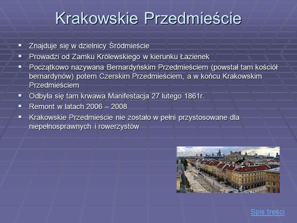 Krakowskie Przedmieście Znajduje się w dzielnicy Śródmieście Znajduje się w dzielnicy Śródmieście Prowadzi od Zamku Królewskiego w kierunku Łazienek P