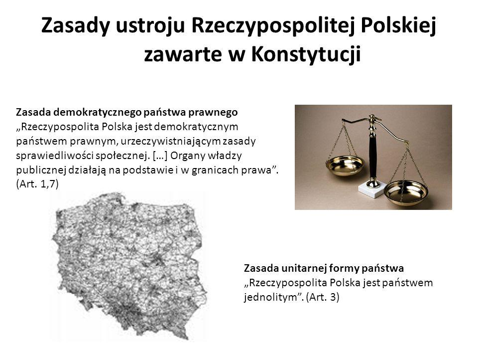 Zasady ustroju Rzeczypospolitej Polskiej zawarte w Konstytucji Zasada demokratycznego państwa prawnego Rzeczypospolita Polska jest demokratycznym pańs