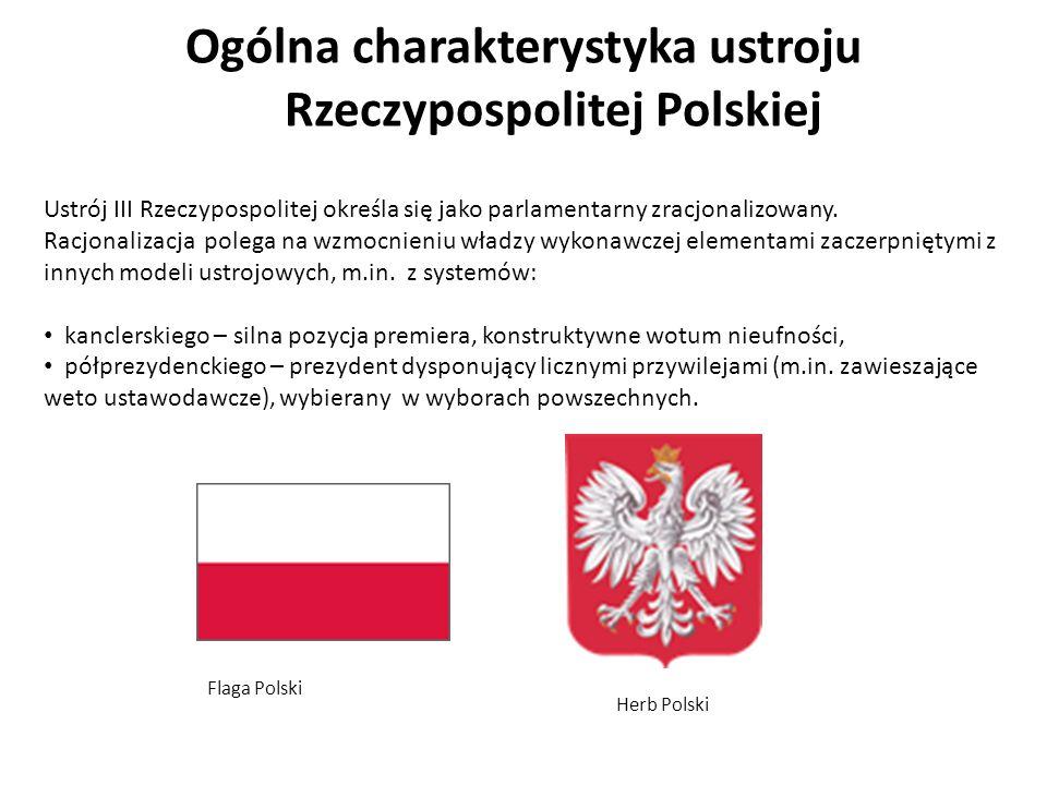 Ogólna charakterystyka ustroju Rzeczypospolitej Polskiej Ustrój III Rzeczypospolitej określa się jako parlamentarny zracjonalizowany. Racjonalizacja p
