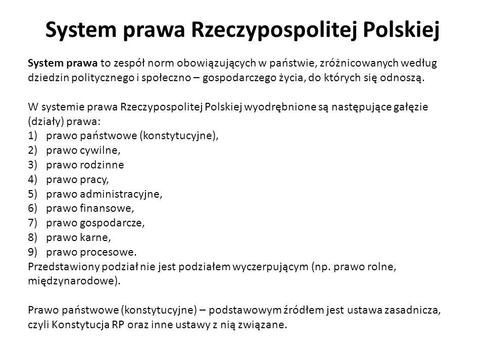 System prawa Rzeczypospolitej Polskiej System prawa to zespół norm obowiązujących w państwie, zróżnicowanych według dziedzin politycznego i społeczno