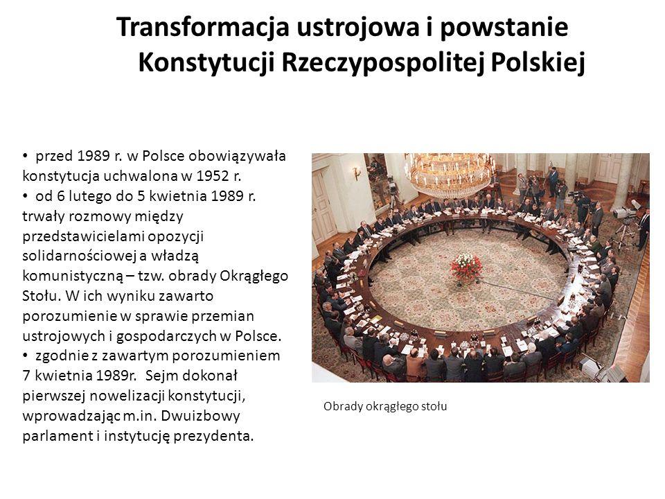 Transformacja ustrojowa i powstanie Konstytucji Rzeczypospolitej Polskiej przed 1989 r. w Polsce obowiązywała konstytucja uchwalona w 1952 r. od 6 lut