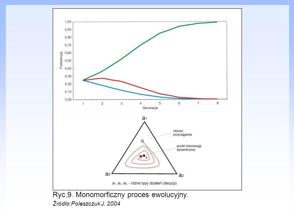 Ryc.9. Monomorficzny proces ewolucyjny. Źródło:Poleszczuk J. 2004