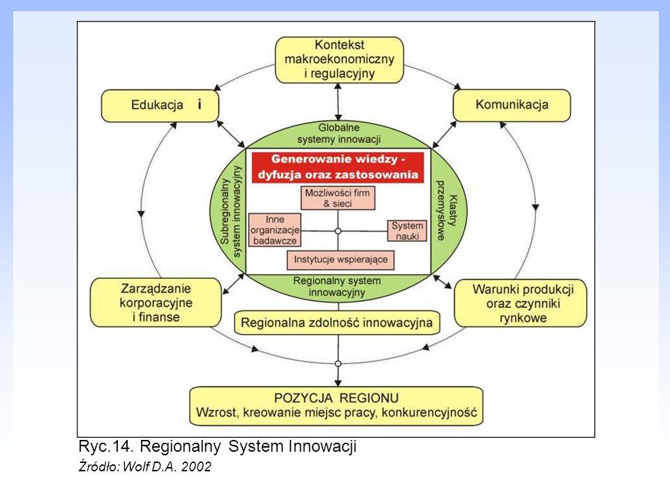 Ryc.14. Regionalny System Innowacji Źródło: Wolf D.A. 2002