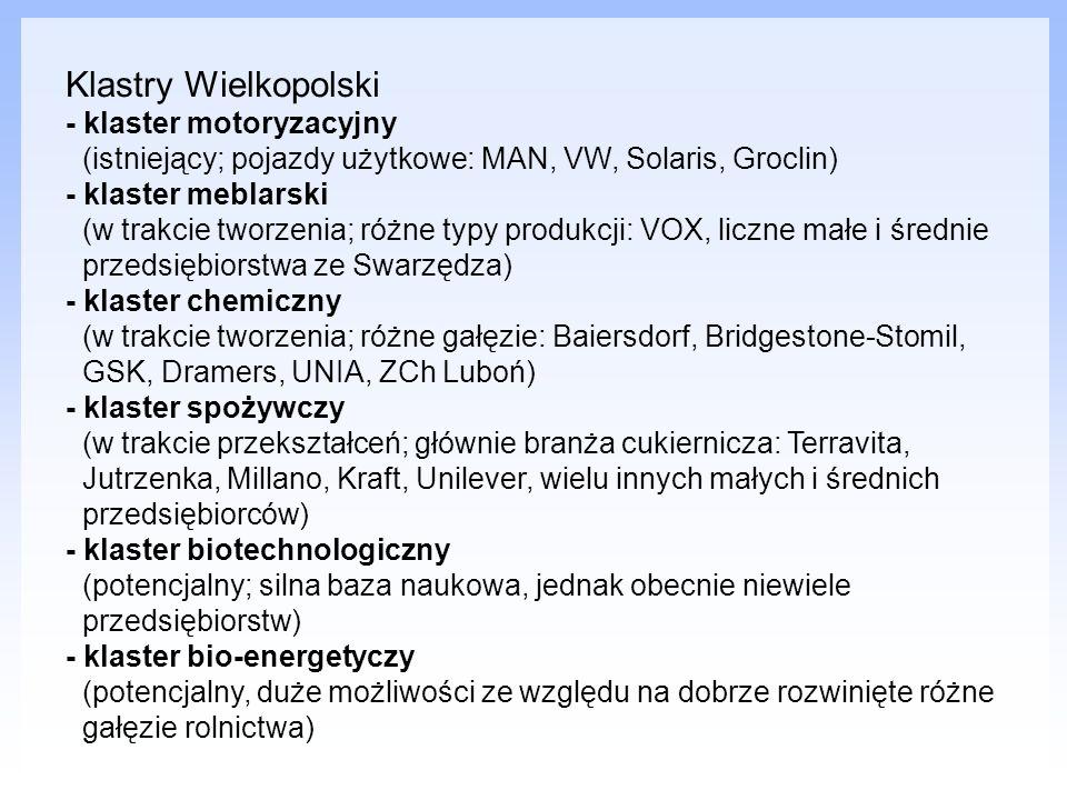 Klastry Wielkopolski - klaster motoryzacyjny (istniejący; pojazdy użytkowe: MAN, VW, Solaris, Groclin) - klaster meblarski (w trakcie tworzenia; różne