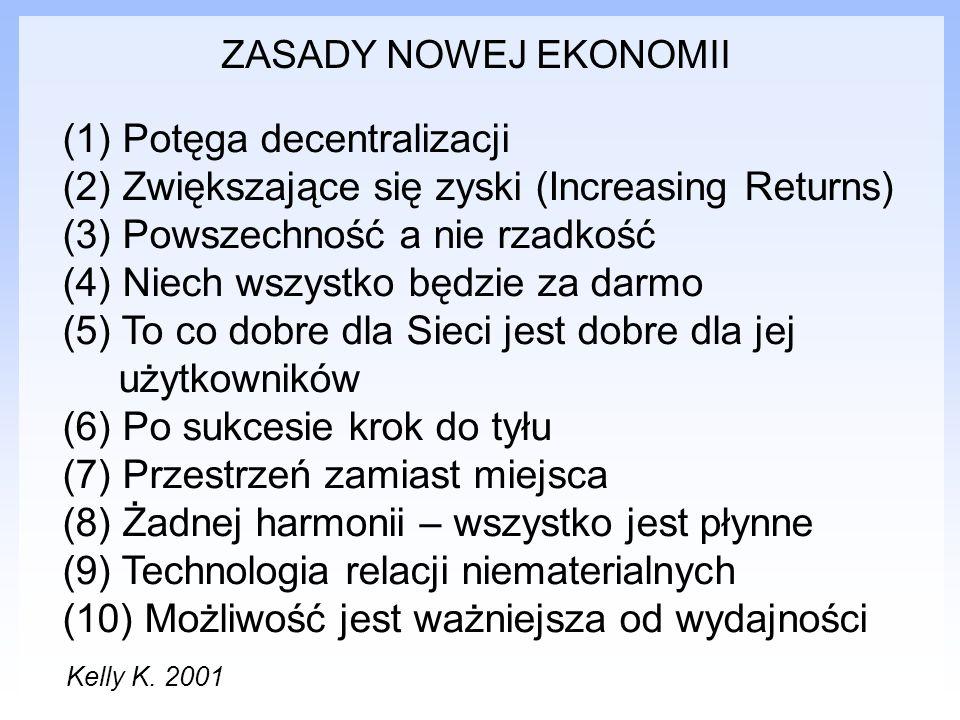 ZASADY NOWEJ EKONOMII (1) Potęga decentralizacji (2) Zwiększające się zyski (Increasing Returns) (3) Powszechność a nie rzadkość (4) Niech wszystko bę