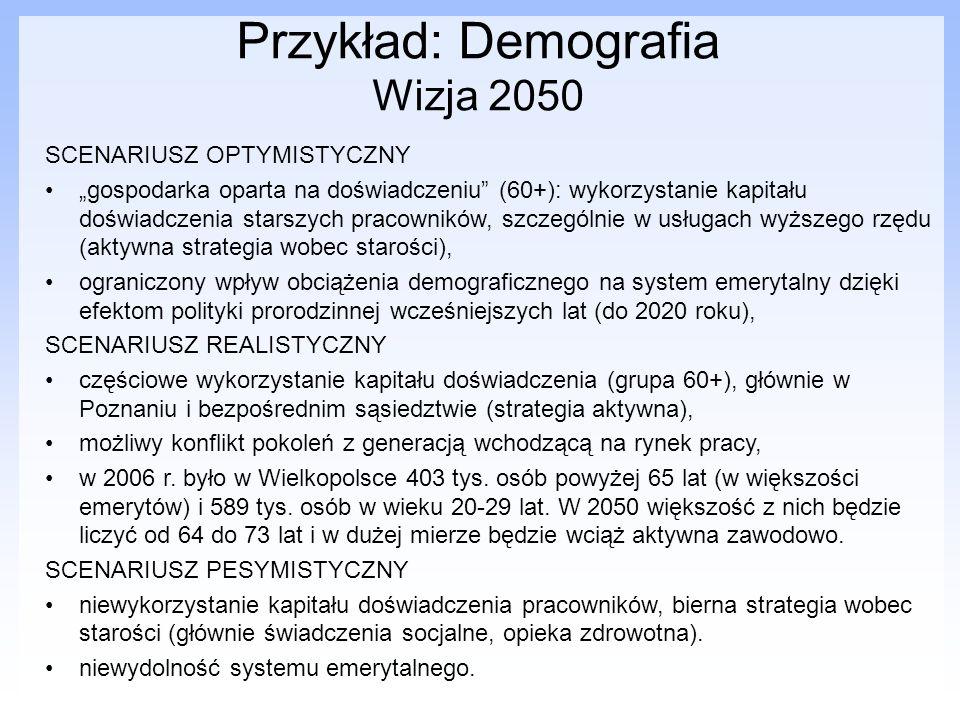 Przykład: Demografia Wizja 2050 SCENARIUSZ OPTYMISTYCZNY gospodarka oparta na doświadczeniu (60+): wykorzystanie kapitału doświadczenia starszych prac