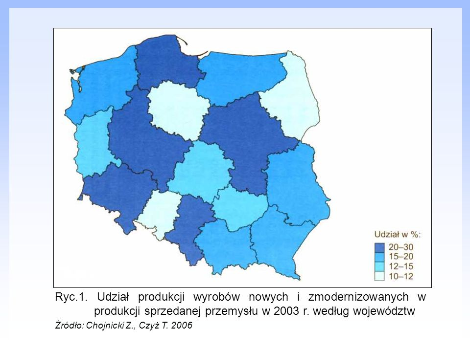 Ryc.1. Udział produkcji wyrobów nowych i zmodernizowanych w produkcji sprzedanej przemysłu w 2003 r. według województw Źródło: Chojnicki Z., Czyż T. 2