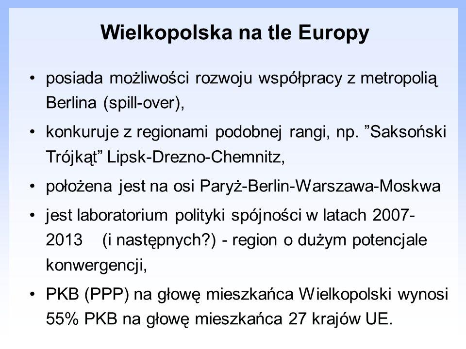 Wielkopolska na tle Europy posiada możliwości rozwoju współpracy z metropolią Berlina (spill-over), konkuruje z regionami podobnej rangi, np. Saksońsk