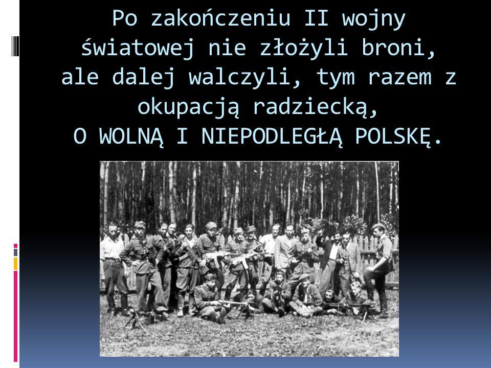 Podstawowe organizacje: Armia Krajowa Obywatelska Armia Polska w Kraju Delegatura Sił Zbrojnych na Kraj Konspiracyjne Wojsko Polskie Narodowe Siły Zbrojne po 1944 roku Narodowe Zjednoczenie Wojskowe NIE Ruch Oporu Armii Krajowej Wielkopolska Samodzielna Grupa Ochotnicza Warta Wolność i Niezawisłość Wolność i Sprawiedliwość