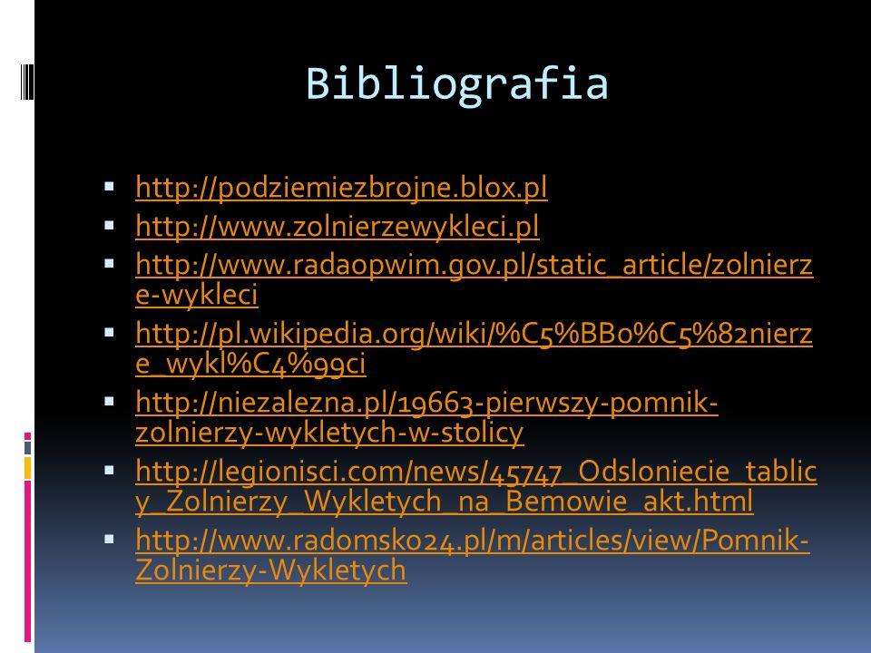 Bibliografia http://podziemiezbrojne.blox.pl http://www.zolnierzewykleci.pl http://www.radaopwim.gov.pl/static_article/zolnierz e-wykleci http://www.r