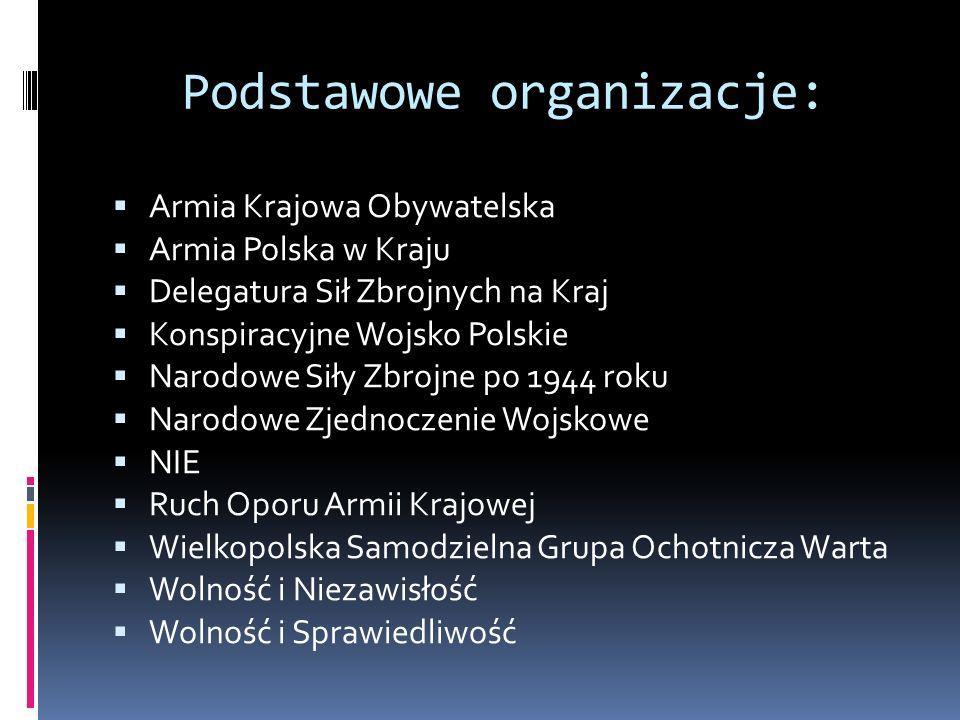 Podstawowe organizacje: Armia Krajowa Obywatelska Armia Polska w Kraju Delegatura Sił Zbrojnych na Kraj Konspiracyjne Wojsko Polskie Narodowe Siły Zbr