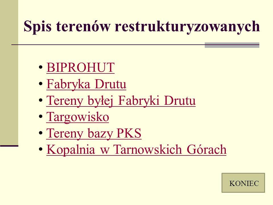 Spis terenów restrukturyzowanych BIPROHUT Fabryka Drutu Tereny byłej Fabryki Drutu Targowisko Tereny bazy PKS Kopalnia w Tarnowskich Górach KONIEC