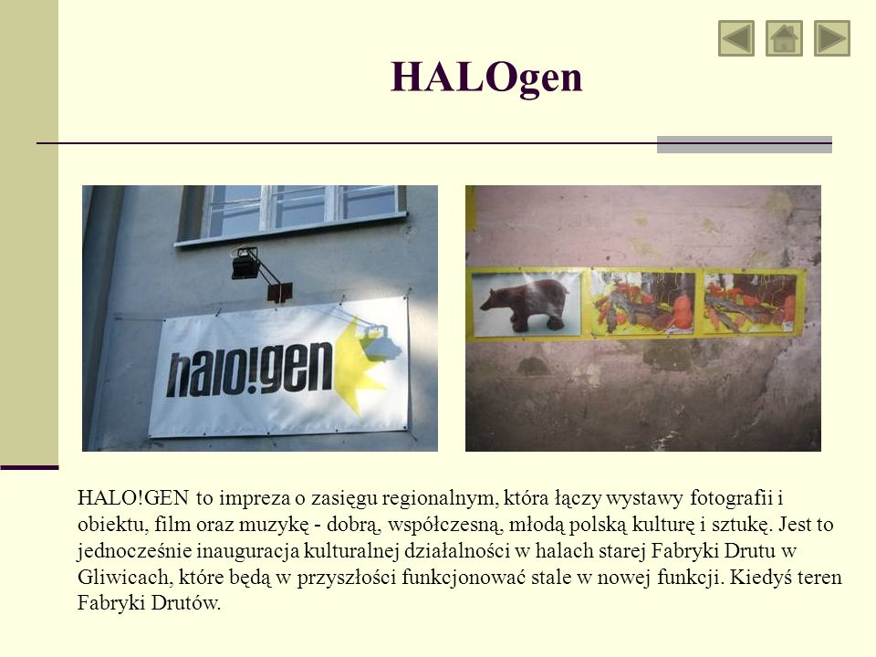 HALOgen HALO!GEN to impreza o zasięgu regionalnym, która łączy wystawy fotografii i obiektu, film oraz muzykę - dobrą, współczesną, młodą polską kulturę i sztukę.