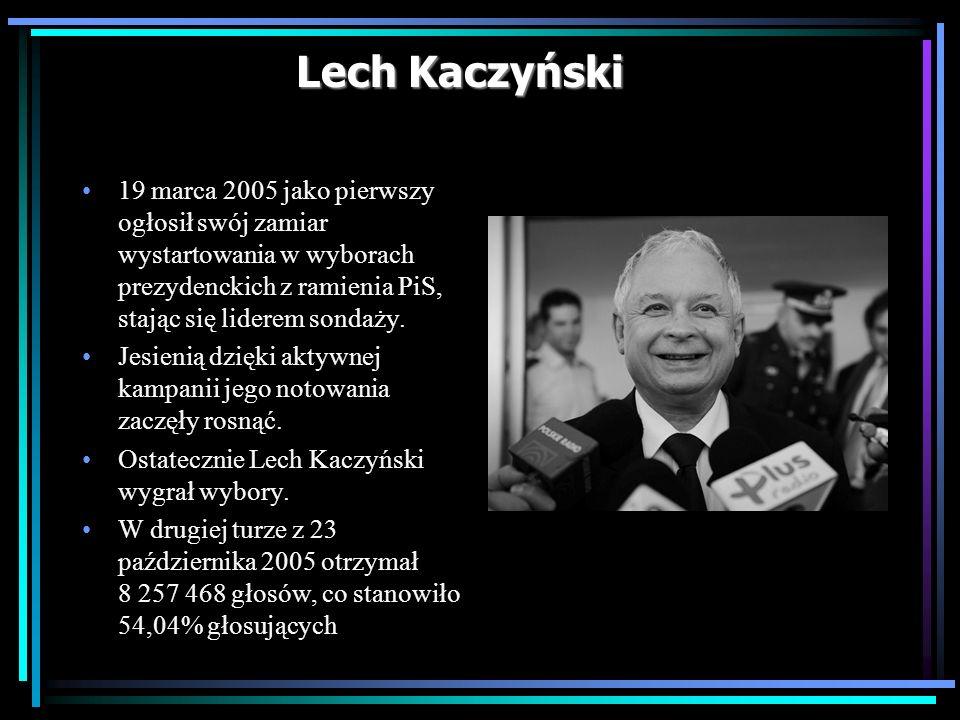 Lech Kaczyński 19 marca 2005 jako pierwszy ogłosił swój zamiar wystartowania w wyborach prezydenckich z ramienia PiS, stając się liderem sondaży. Jesi
