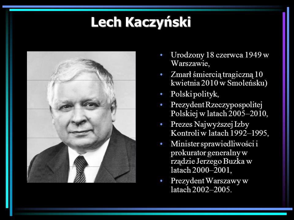 Lech Kaczyński Urodzony 18 czerwca 1949 w Warszawie, Zmarł śmiercią tragiczną 10 kwietnia 2010 w Smoleńsku) Polski polityk, Prezydent Rzeczypospolitej