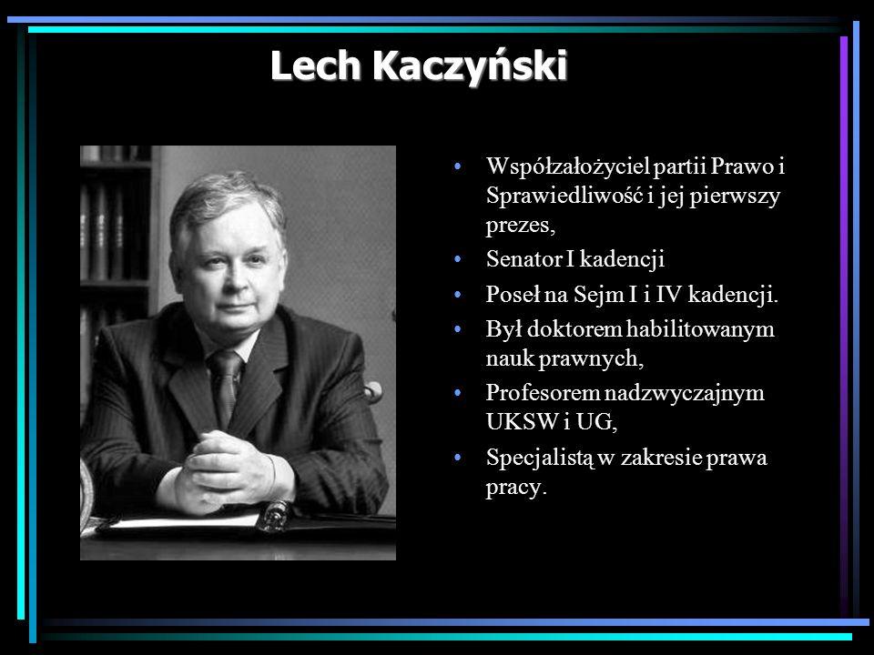Lech Kaczyński Współzałożyciel partii Prawo i Sprawiedliwość i jej pierwszy prezes, Senator I kadencji Poseł na Sejm I i IV kadencji. Był doktorem hab