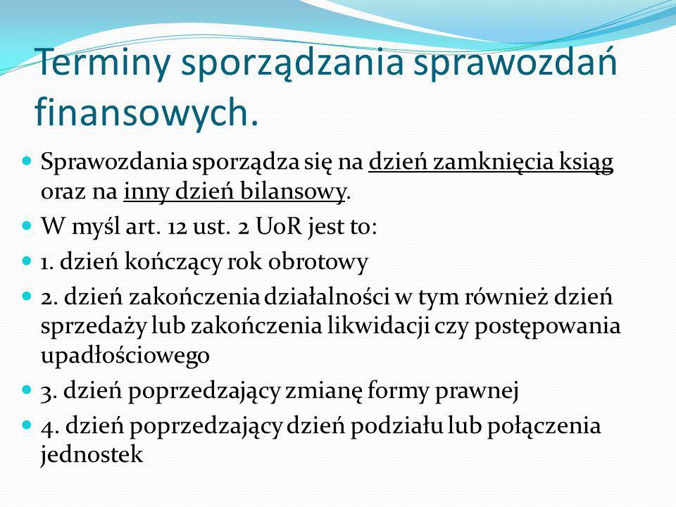 Terminy sporządzania sprawozdań finansowych.5.