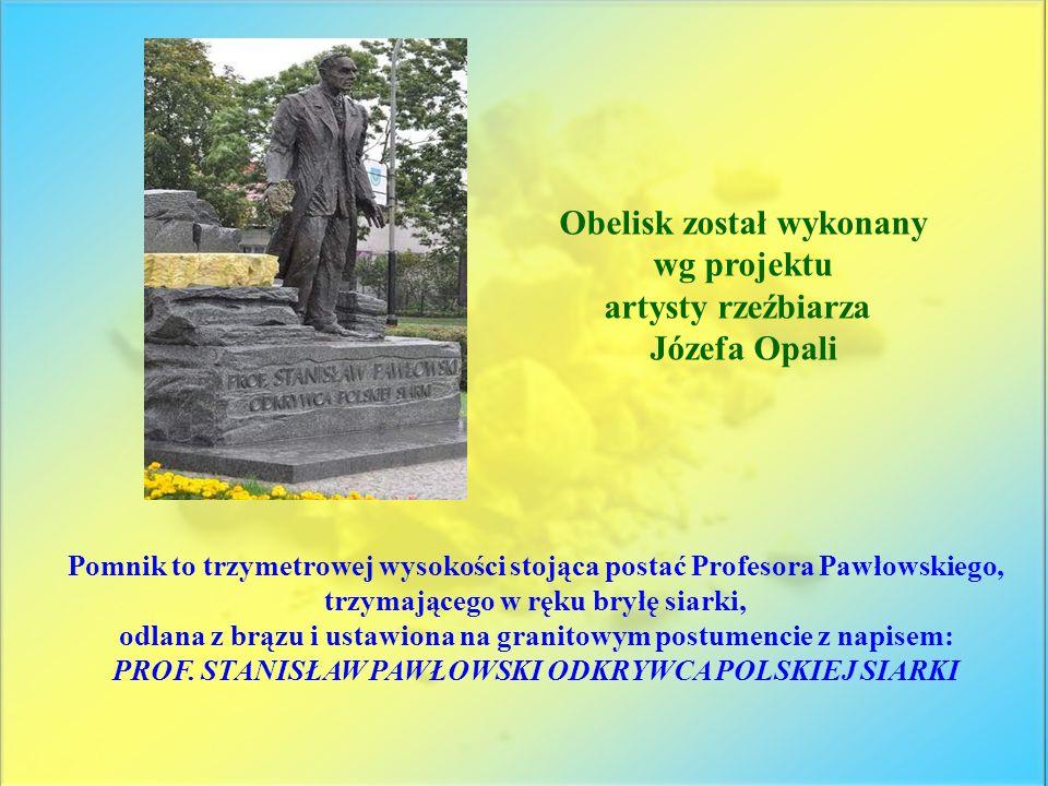 Pomnik to trzymetrowej wysokości stojąca postać Profesora Pawłowskiego, trzymającego w ręku bryłę siarki, odlana z brązu i ustawiona na granitowym pos
