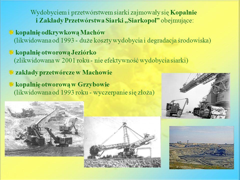 Wydobyciem i przetwórstwem siarki zajmowały się Kopalnie i Zakłady Przetwórstwa Siarki Siarkopol obejmujące: kopalnię odkrywkową Machów (likwidowana o