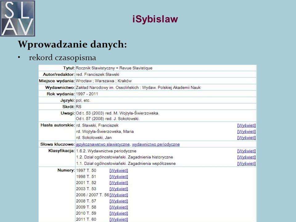 iSybislaw Wprowadzanie danych: rekord czasopisma