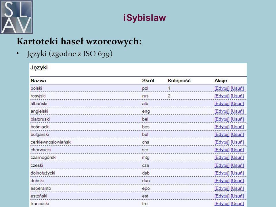 iSybislaw Kartoteki haseł wzorcowych: Języki (zgodne z ISO 639)