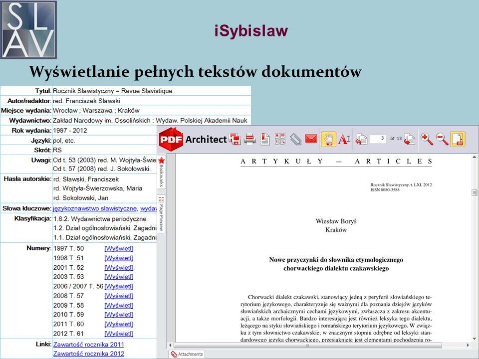 iSybislaw Wyświetlanie pełnych tekstów dokumentów