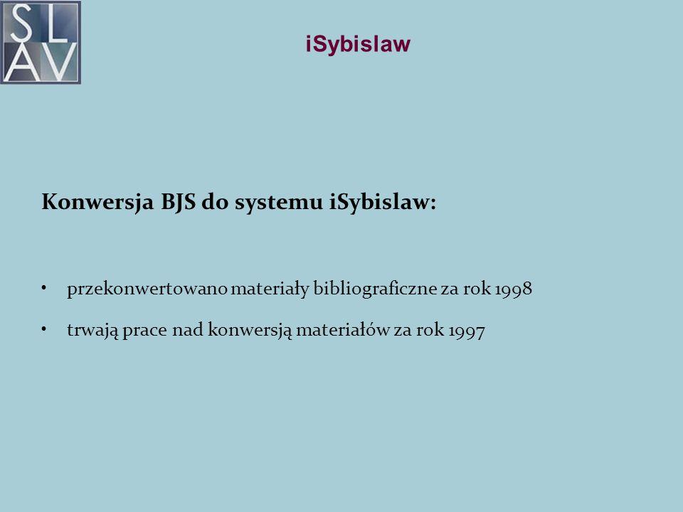 iSybislaw Konwersja BJS do systemu iSybislaw: przekonwertowano materiały bibliograficzne za rok 1998 trwają prace nad konwersją materiałów za rok 1997
