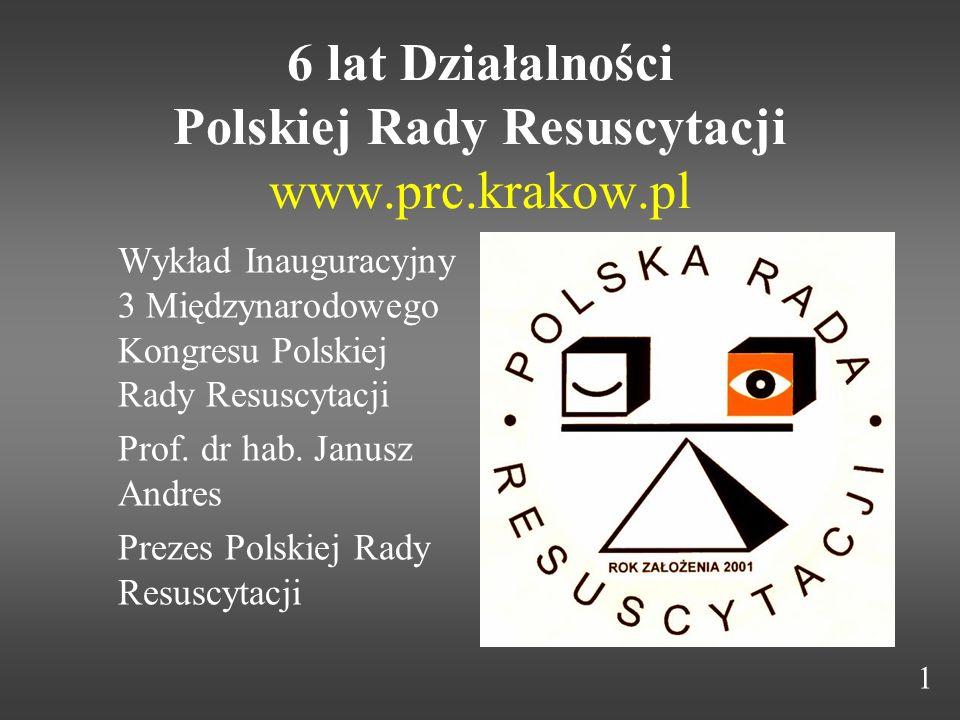 6 lat Działalności Polskiej Rady Resuscytacji www.prc.krakow.pl Wykład Inauguracyjny 3 Międzynarodowego Kongresu Polskiej Rady Resuscytacji Prof. dr h
