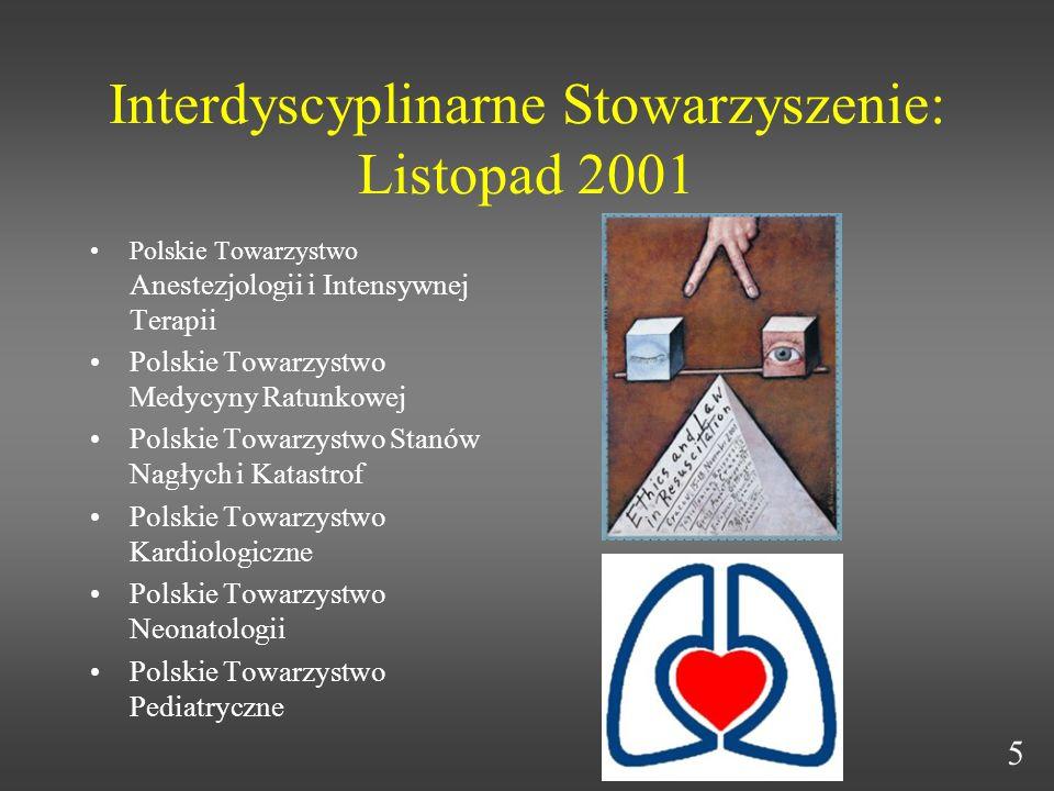 Interdyscyplinarne Stowarzyszenie: Listopad 2001 Polskie Towarzystwo Anestezjologii i Intensywnej Terapii Polskie Towarzystwo Medycyny Ratunkowej Pols