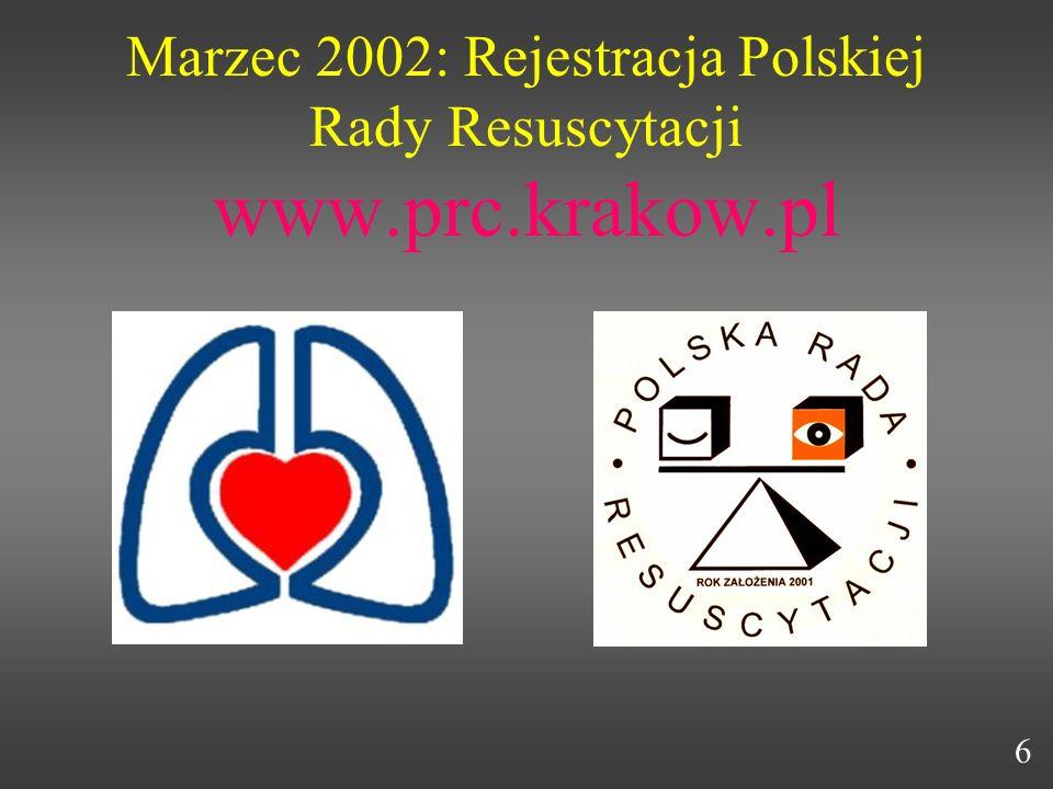 Marzec 2002: Rejestracja Polskiej Rady Resuscytacji www.prc.krakow.pl 6