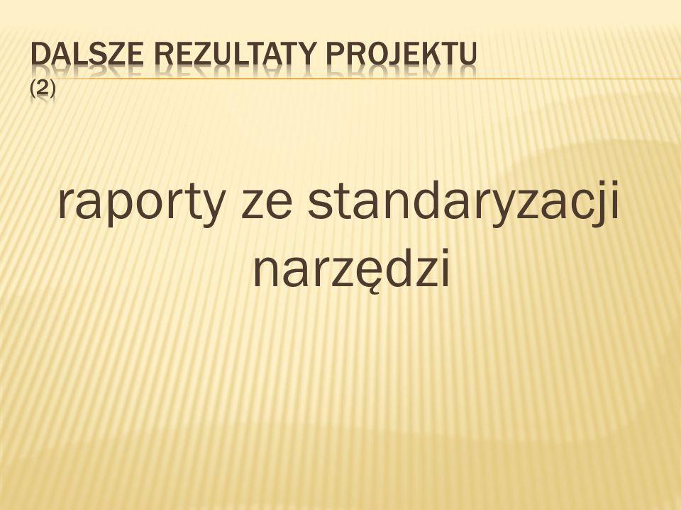 raporty ze standaryzacji narzędzi