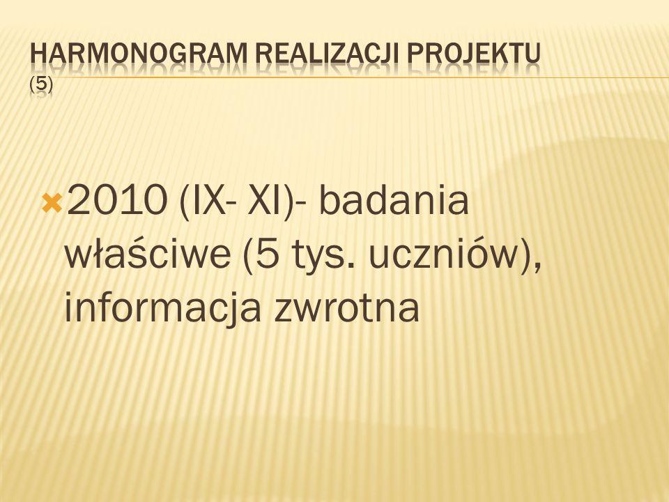 2010 (IX- XI)- badania właściwe (5 tys. uczniów), informacja zwrotna