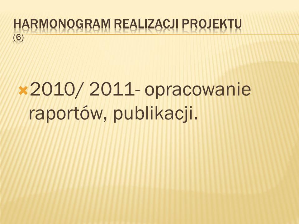 2010/ 2011- opracowanie raportów, publikacji.