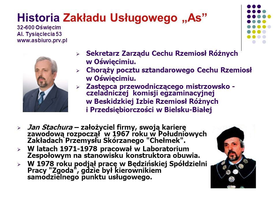 Historia Zakładu Usługowego As 32-600 Oświęcim Al. Tysiąclecia 53 www.asbiuro.prv.pl Jan Stachura – założyciel firmy, swoją karierę zawodową rozpoczął