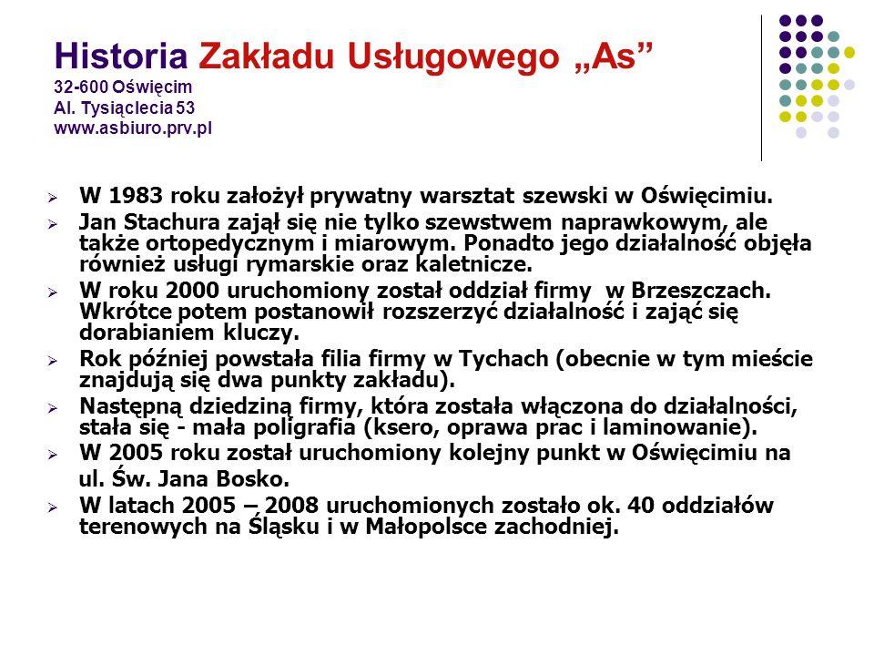 Historia Zakładu Usługowego As 32-600 Oświęcim Al. Tysiąclecia 53 www.asbiuro.prv.pl W 1983 roku założył prywatny warsztat szewski w Oświęcimiu. Jan S