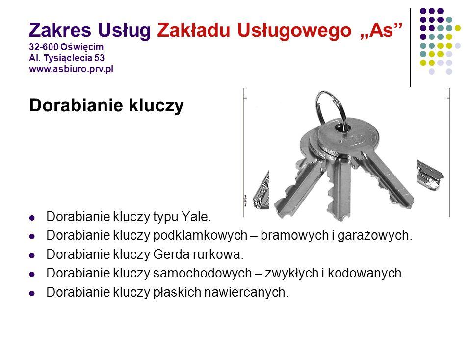 Dorabianie kluczy typu Yale. Dorabianie kluczy podklamkowych – bramowych i garażowych. Dorabianie kluczy Gerda rurkowa. Dorabianie kluczy samochodowyc