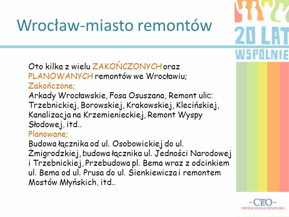 Wrocław-miasto remontów Oto kilka z wielu ZAKOŃCZONYCH oraz PLANOWANYCH remontów we Wrocławiu; Zakończone; Arkady Wrocławskie, Fosa Osuszana, Remont u