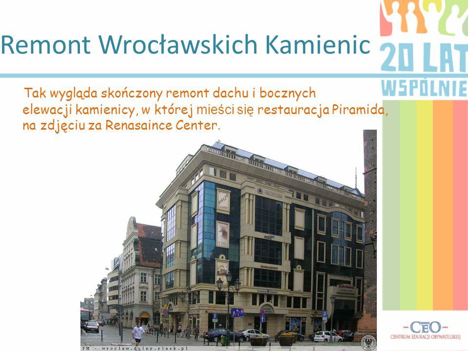 Remont Wrocławskich Kamienic Tak wygląda skończony remont dachu i bocznych elewacji kamienicy, w której mieści się restauracja Piramida, na zdjęciu za