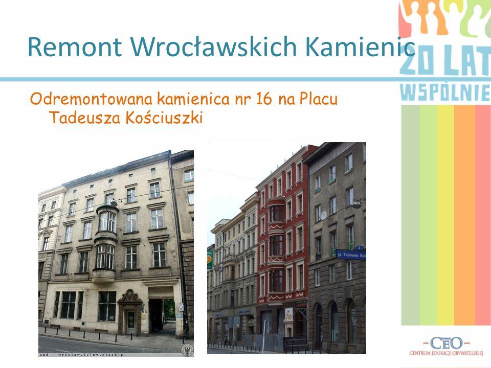 Remont Wrocławskich Kamienic Odremontowana kamienica nr 16 na Placu Tadeusza Kościuszki