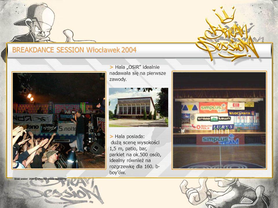 BREAKDANCE SESSION Włocławek 2004 > Hala OSiR idealnie nadawała się na pierwsze zawody.