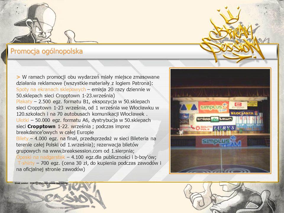 Promocja ogólnopolska > W ramach promocji obu wydarzeń miały miejsce zmasowane działania reklamowe (wszystkie materiały z logiem Patrona): Spoty na ekranach sklepowych – emisja 20 razy dziennie w 50.sklepach sieci Cropptown 1-23.września) Plakaty – 2.500 egz.