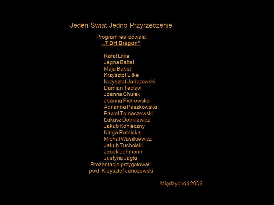Jeden Świat Jedno Przyrzeczenie Program realizowała: 7 DH Dragon Rafał Litke Jagna Babst Maja Babst Krzysztof Litke Krzysztof Jańczewski Damian Tecław