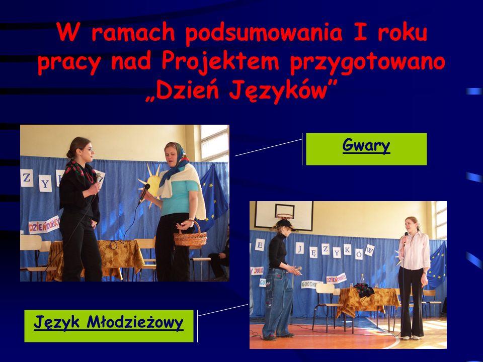 W ramach podsumowania I roku pracy nad Projektem przygotowano Dzień Języków Gwary Język Młodzieżowy