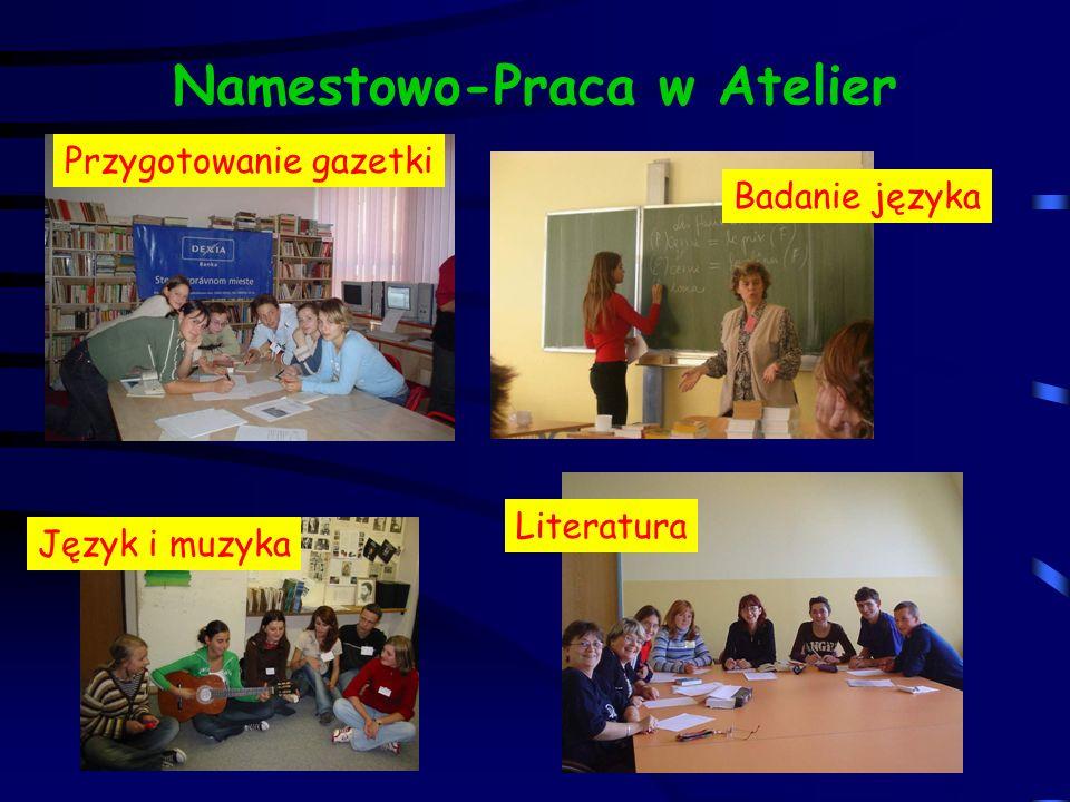 Namestowo-Praca w Atelier Przygotowanie gazetki Badanie języka Język i muzyka Literatura